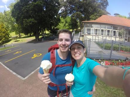Indulging on a Kiwi classic - Hokey Pokey ice cream - during our coast-to-coast walk